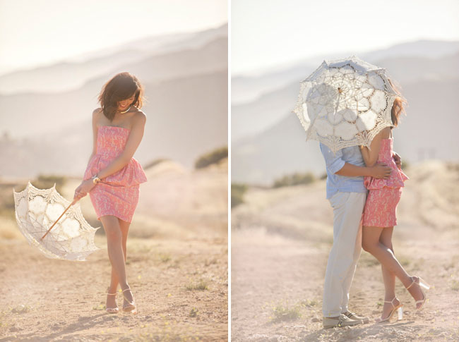 vintage lace umbrella engagement