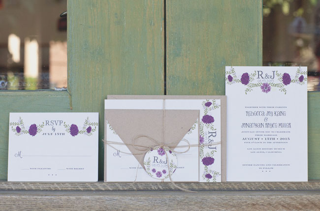 fall purple wedding invitation