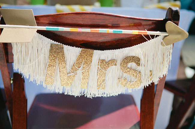 mr and mrs fringe chair decor