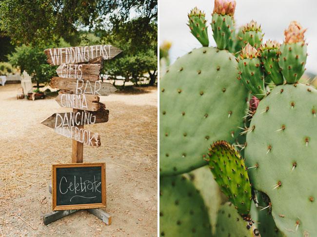 wooden arrow wedding sign