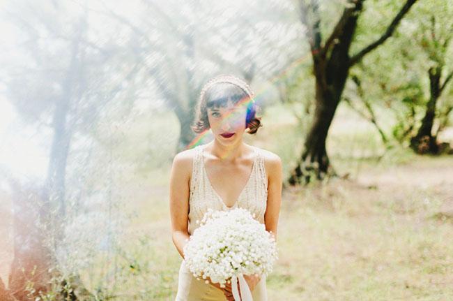 bride wearing lace headband