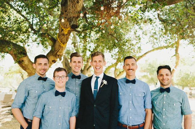 groomsmen wearing bow ties