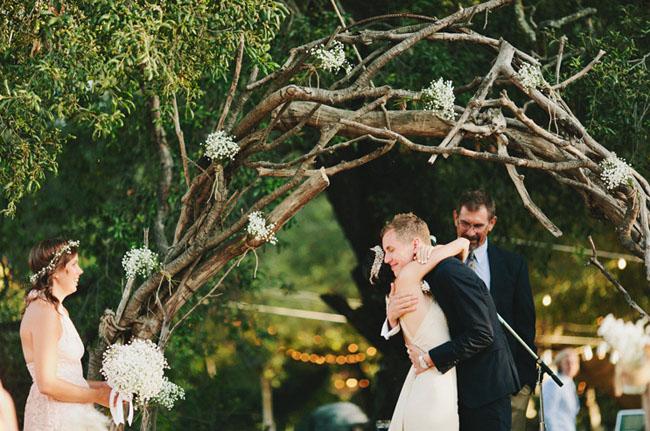 wooden branch arbor