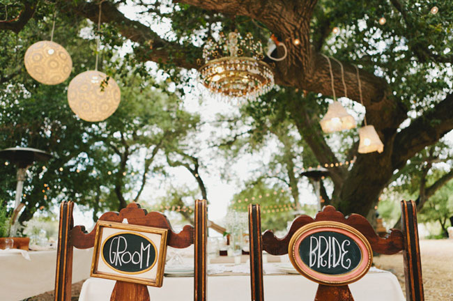 bride and groom chalkboard chair signs