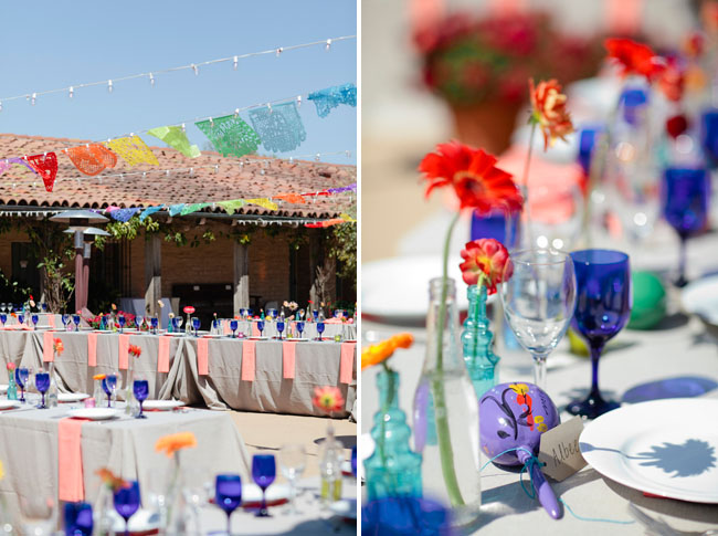 blue glass wedding decor