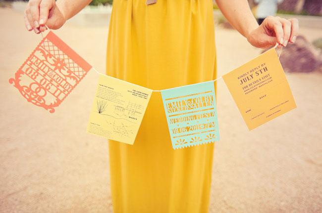 papel picado wedding invitations