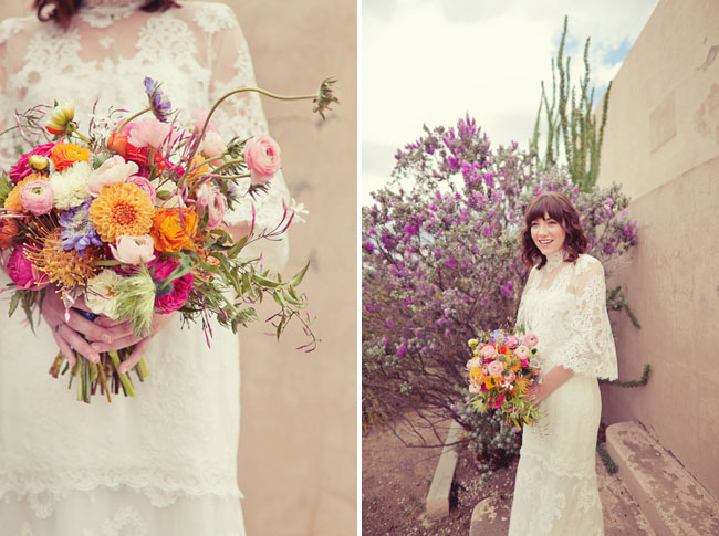 whimsical pink and orange bouquet