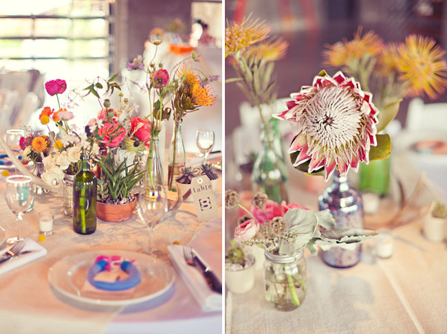protea and pink centerpices