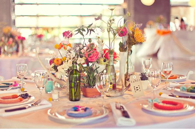 whimsical bottle vase centerpieces