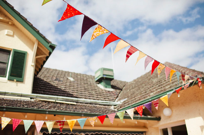 garden party wedding bunting