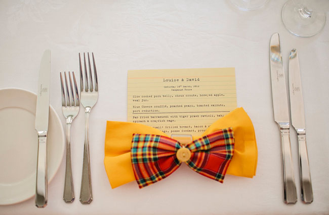 garden party wedding bow tie place card