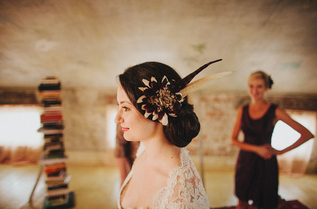feather bridal hair piece