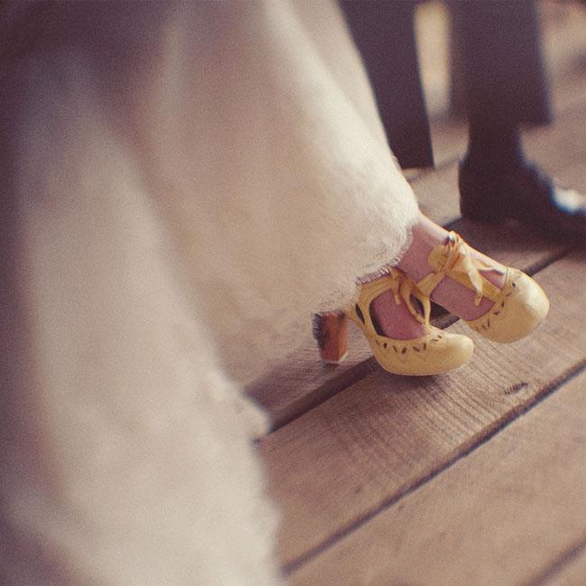 yellow bridal heels