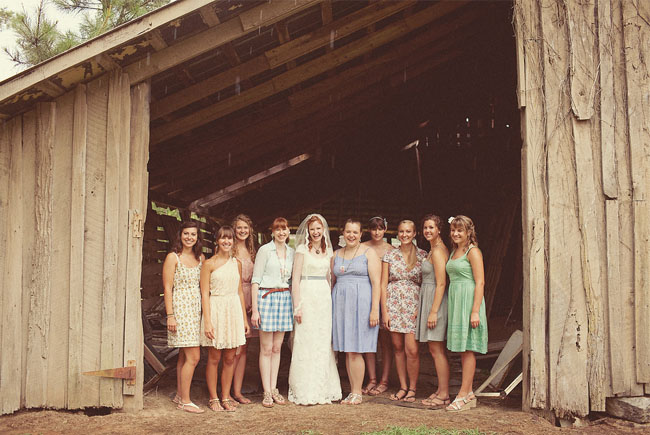 Bridesmaids In Mis Matched Dresses