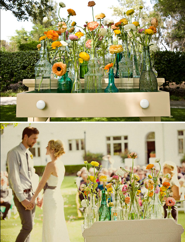 Colored Jars And Ranunculus Ceremony Altar Green Wedding Shoes