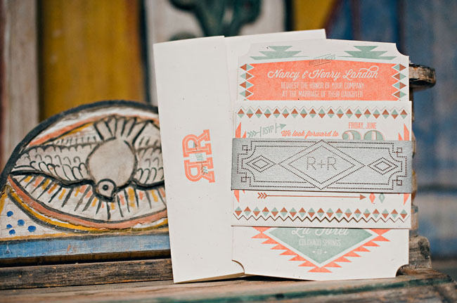 southwest inspired wedding invitation