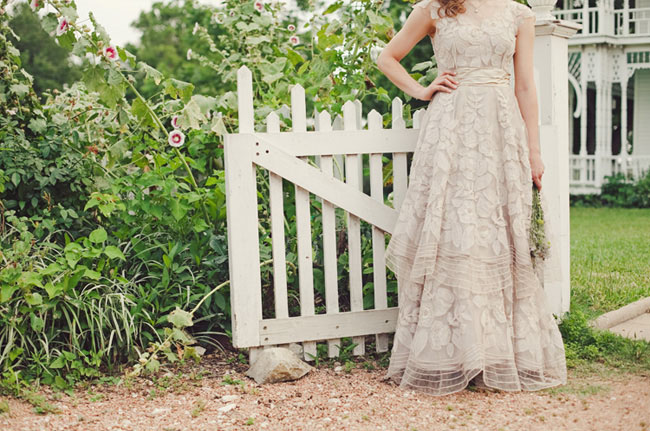 bride wearing BHLDN dress