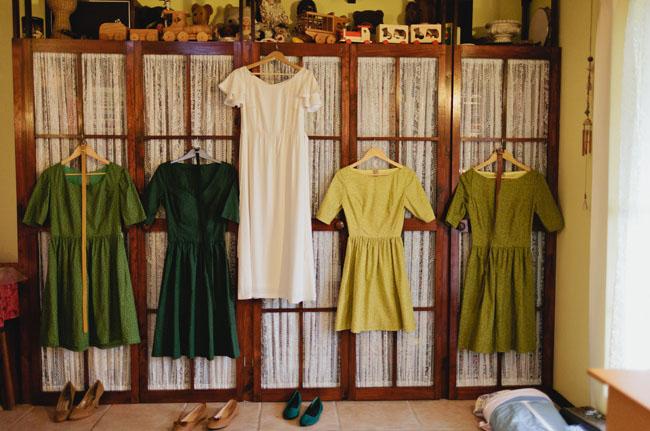 bridesmaid dresses hanging up