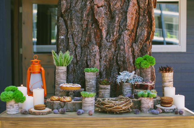 birch wood dessert bar