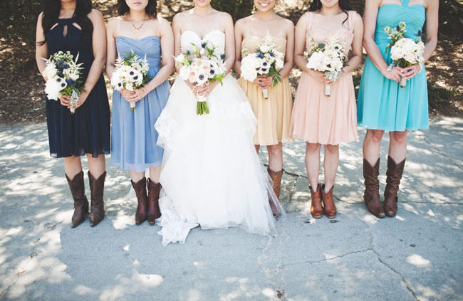 mismatched bridesmaids wearing boots