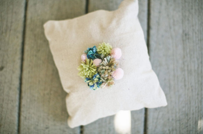 pom pom ring bearer pillow