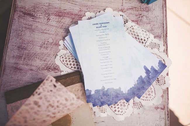 water color wedding program