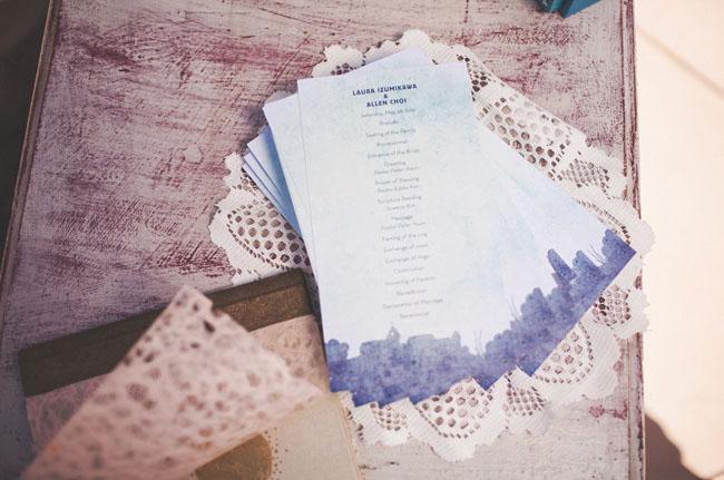 water color wedding program