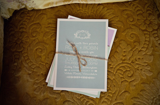 gray and purple wedding invitation