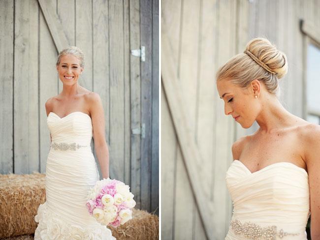 sock bun hair bride