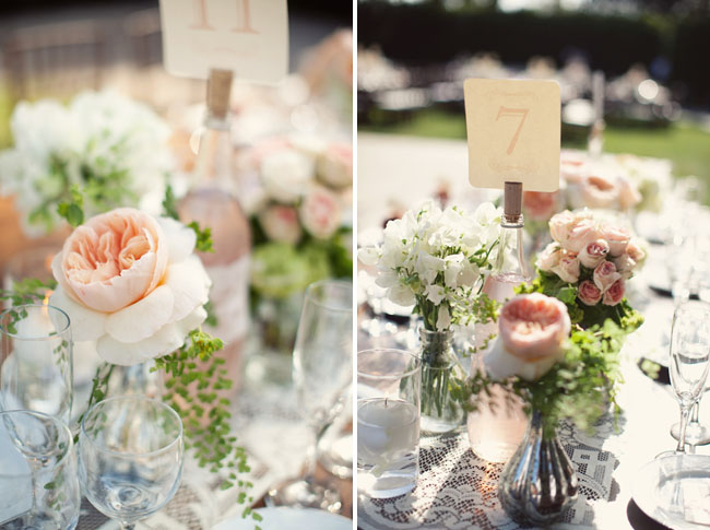 peach flower centerpieces