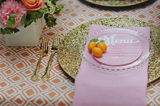 orange geometric tablecloth