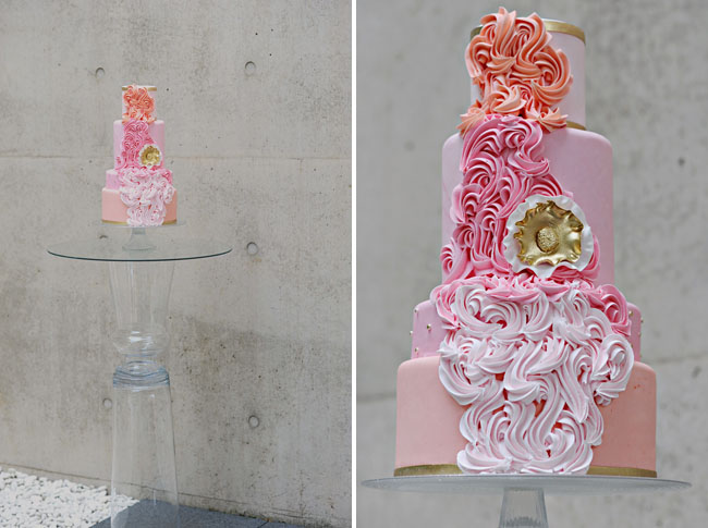 ombre ruffle cascading cake