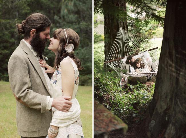 country boho bride and groom