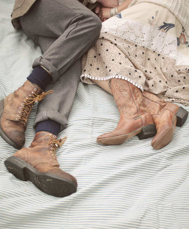 bride and groom wearing boots