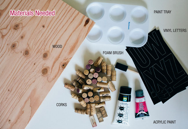DIY Ombre Cork Heart Materials