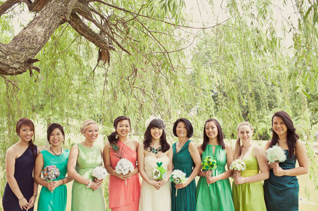 green shade bridesmaid dresses