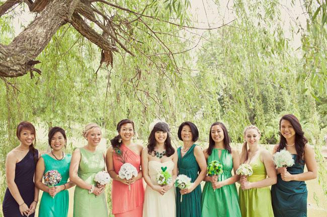 green shade bridesmaid dresses