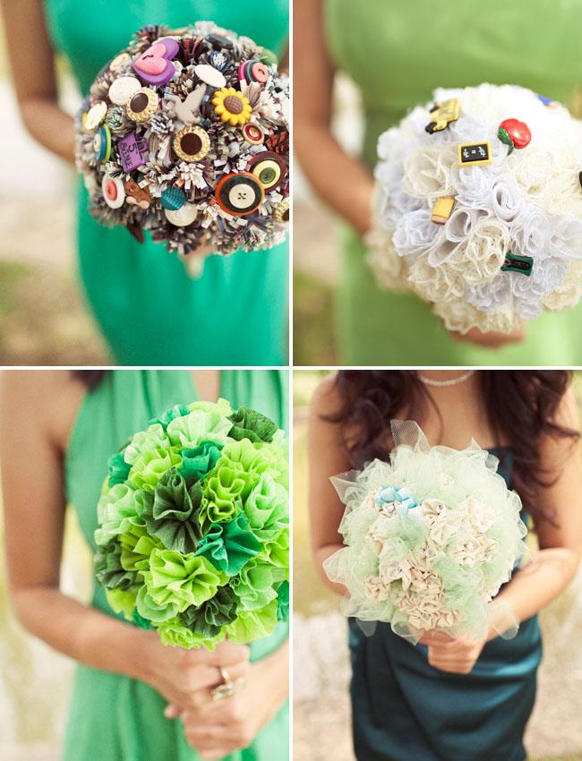 brooch bouquet, pom bouquet