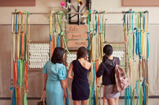 place card ribbon wall