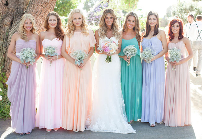 long pleated pastel bridesmaid dresses