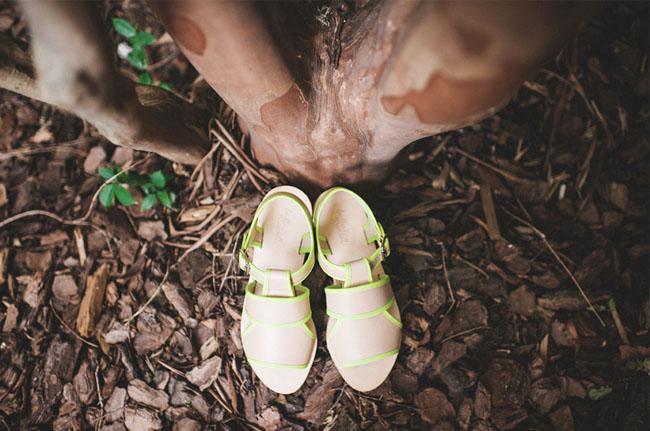neon and beige heels