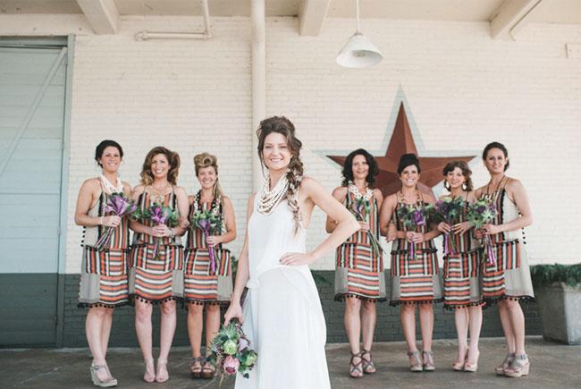 bridesmaids wearing stripes