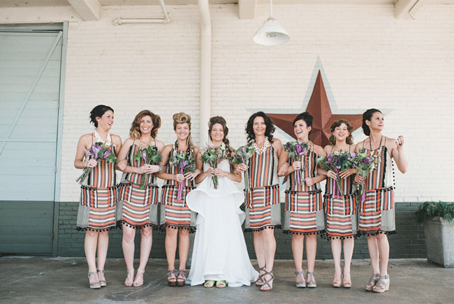 bridesmaids wearing stripes