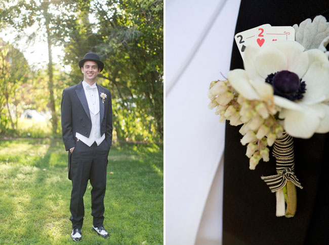 playing cards boutonniere