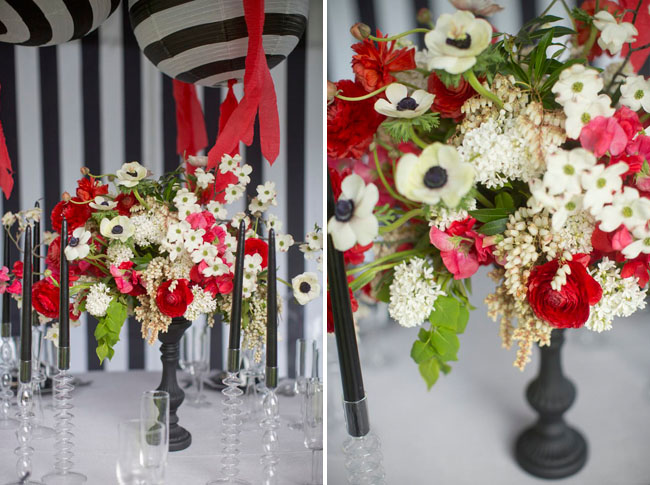 red black white centerpieces