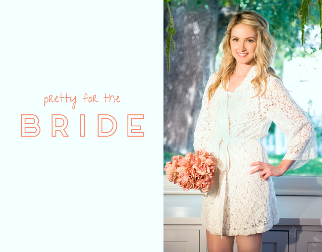 white lace robe for bride