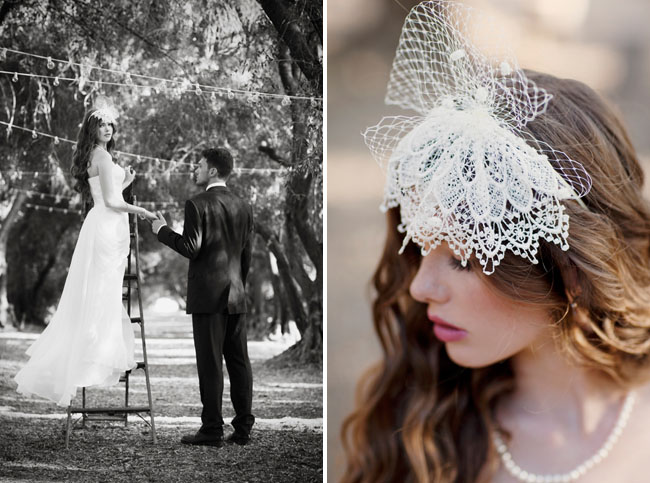 lace bridal hair piece