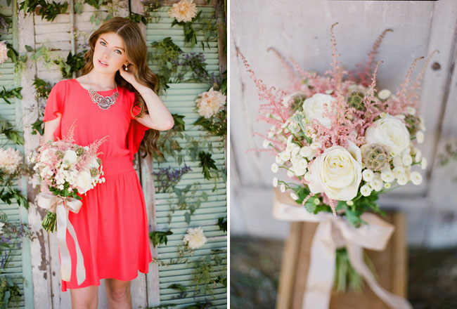 coral dress ruche fall