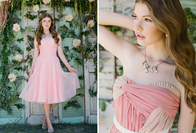 pink chiffon dress ruche fall