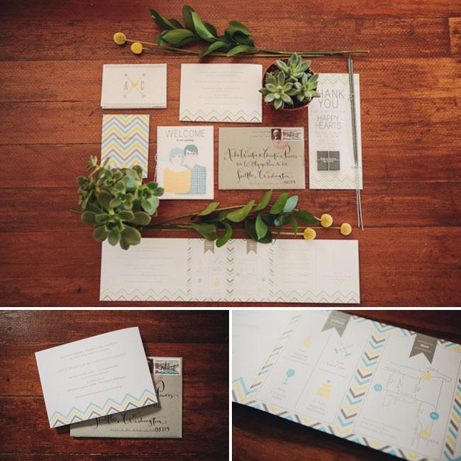 chevron wedding invitation suite